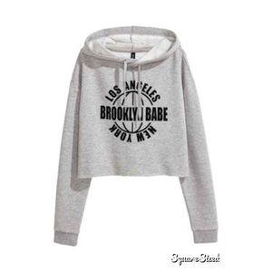 H&M Brooklyn Babe crop top hoodie
